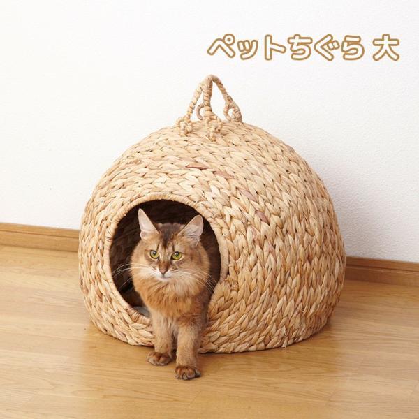 ペットちぐら 大 ねこ ちぐら 猫 ちぐら 犬 ペットハウス 小屋 カゴ ネコ 持ち手 わら 藁 小型犬 つぐら 寝床 キャットハウス (メーカー直送、代金引き不可)|kurashikan
