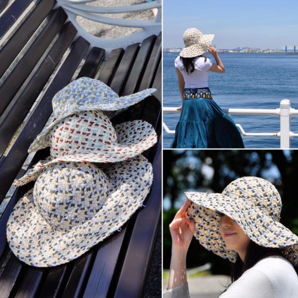 ペーパーハット つば広 日よけ 帽子 UV 帽子 紫外線 帽子 帽子 レディース おしゃれ UVカット 紫外線 夏 kurashikan 03