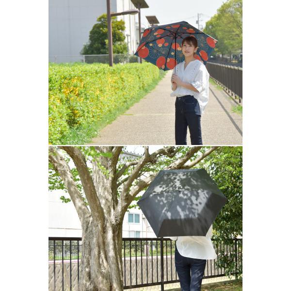 日傘 完全遮光 折りたたみ 晴雨兼用 軽量 UVカット 遮光 遮熱 100% 折りたたみ傘  3段折り畳み 傘 和柄 ブラック レディース 母の日 ギフト プレゼント|kurashikan|03
