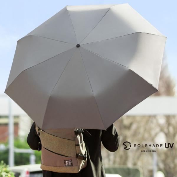 日傘 折りたたみ傘 メンズ 晴雨兼用 完全遮光 撥水 超軽量 おしゃれ UVカット 100% 遮光 遮熱 折りたたみ 傘 コンパクト 丈夫 耐風 男性用 グレー kurashikan 15