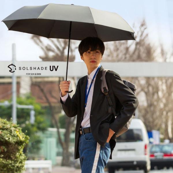 日傘 折りたたみ傘 メンズ 晴雨兼用 完全遮光 撥水 超軽量 おしゃれ UVカット 100% 遮光 遮熱 折りたたみ 傘 コンパクト 丈夫 耐風 男性用 グレー kurashikan 16