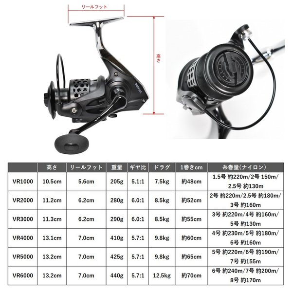 i-loop (アイループ) ハイパフォーマンス スピニングリール 軽量  わずか205g 11+1BB VRシリーズ 1000 (1000番)
