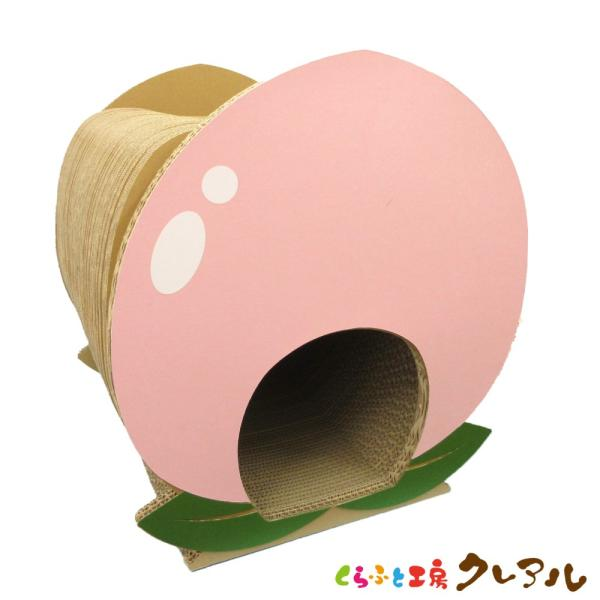 猫 爪とぎ ダンボール  ピーチハウス(白シール付き)    日本製 猫 つめとぎ 爪とぎ 爪磨き 爪みがき 猫用品 段ボール 遊び おしゃれ ユニーク かわいい
