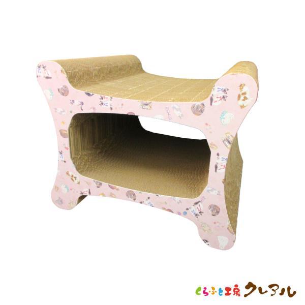 猫 爪とぎ ダンボール (キャットワールド柄)リラックストンネル   日本製 ダンボール猫 段ボールつめとぎ 爪とぎ 爪磨き 爪みがき 猫用品 おしゃれ