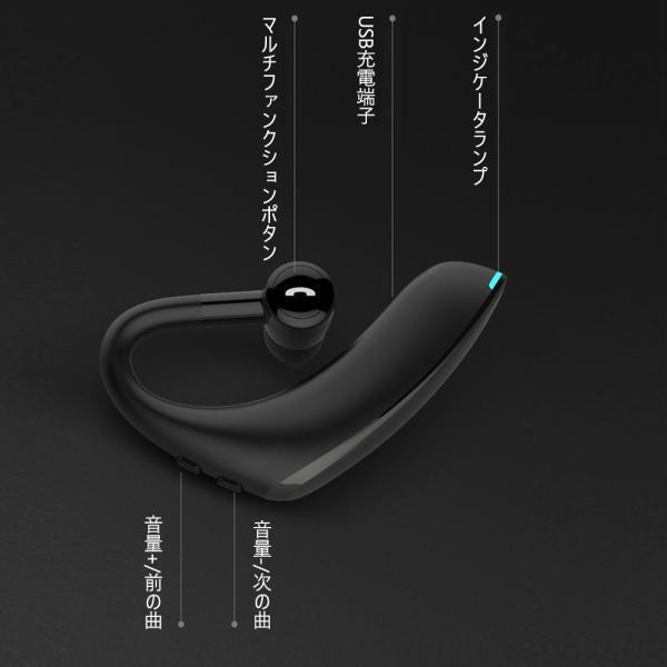 ワイヤレス イヤホン イヤホン5.0 左右耳通用 ワイヤレスイヤホン Bluetooth 5.0超長待機180日 高品質28時間連続 耳掛け型 180度回転   片耳|kuri-store|08