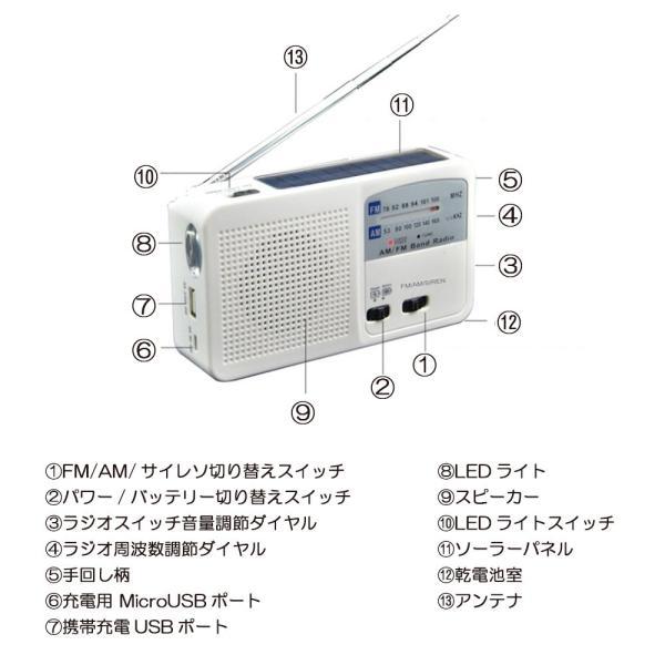 ポータブルラジオ FM/AM/対応 500MaH大容量バッテリー防災ラジオ スマートフォンに充電可能 手回し充電/太陽光充電対応 自然災害に備え|kuri-store|09