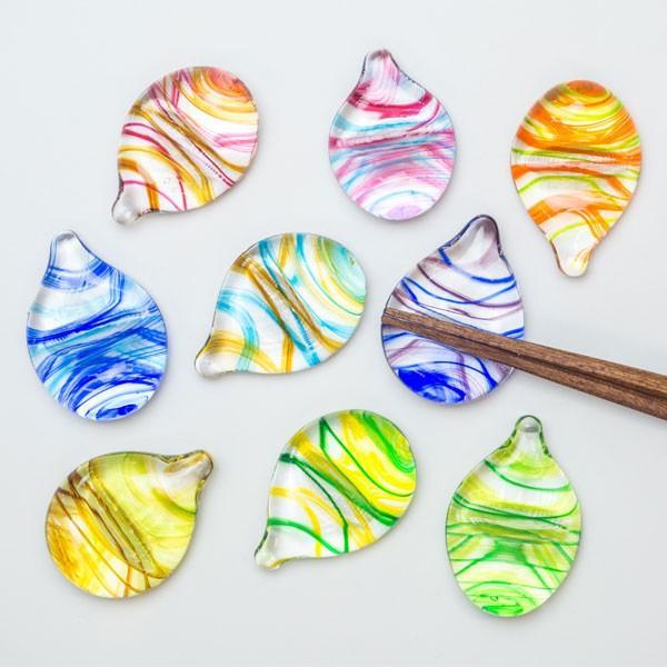 ハンドメイド テーブルウェア 食卓 日本製 記念品 お祝い プレゼント ガラス 箸置き 「しずく箸置き(マーブル)」|kurokabe