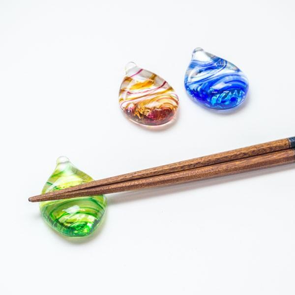 ハンドメイド テーブルウェア 食卓 日本製 記念品 お祝い プレゼント ガラス 箸置き 「しずく箸置き(マーブル)」|kurokabe|05