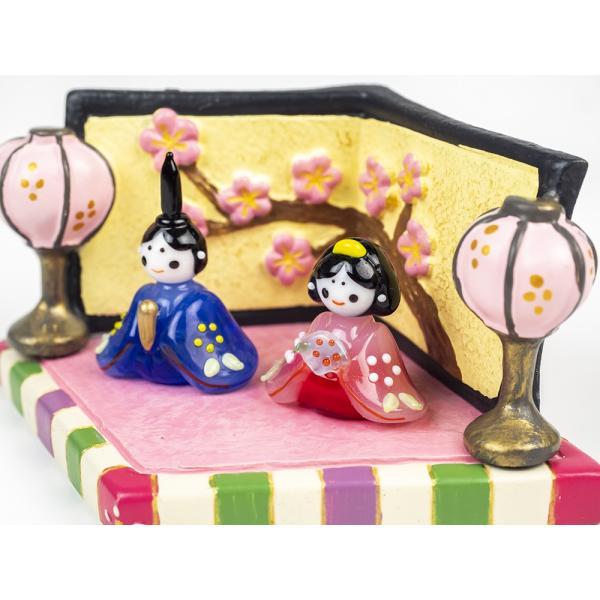 ガラスのお雛様 雛人形 ひなまつり 節句 ギフト 「若君姫君雛セット」|kurokabe|03