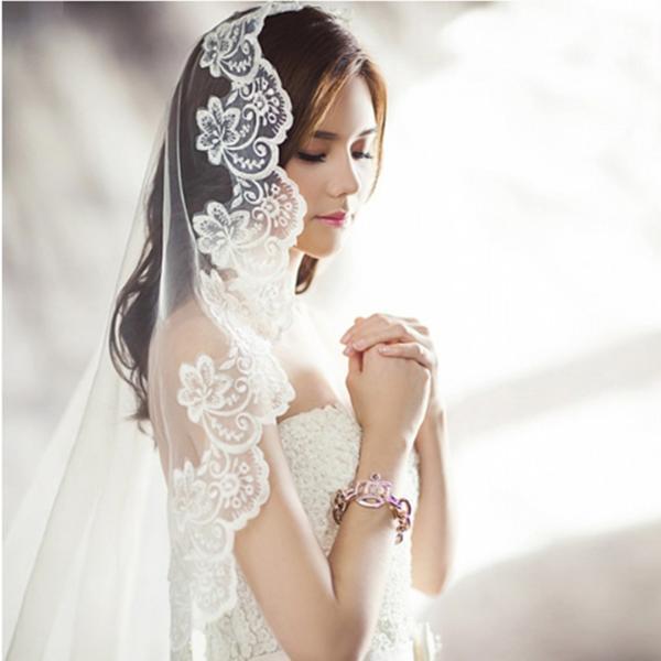 ウェディングベール ロング マリアベール フラワー 刺繍 結婚式 教会挙式 kuroneko-ya1 02