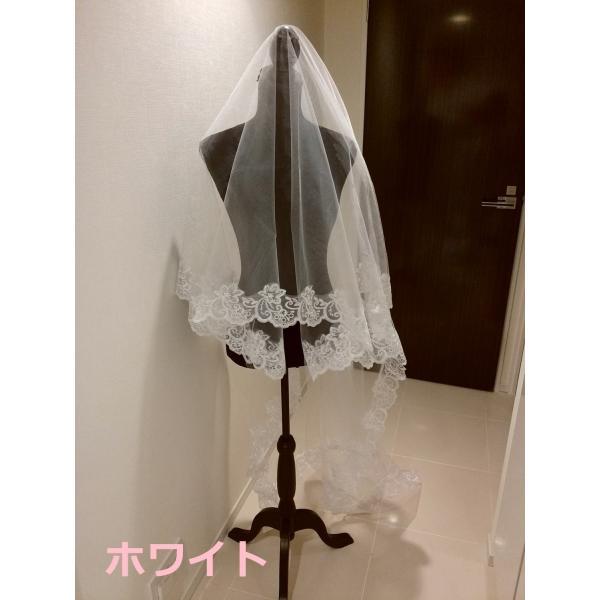 ウェディングベール ロング マリアベール フラワー 刺繍 結婚式 教会挙式 kuroneko-ya1 04