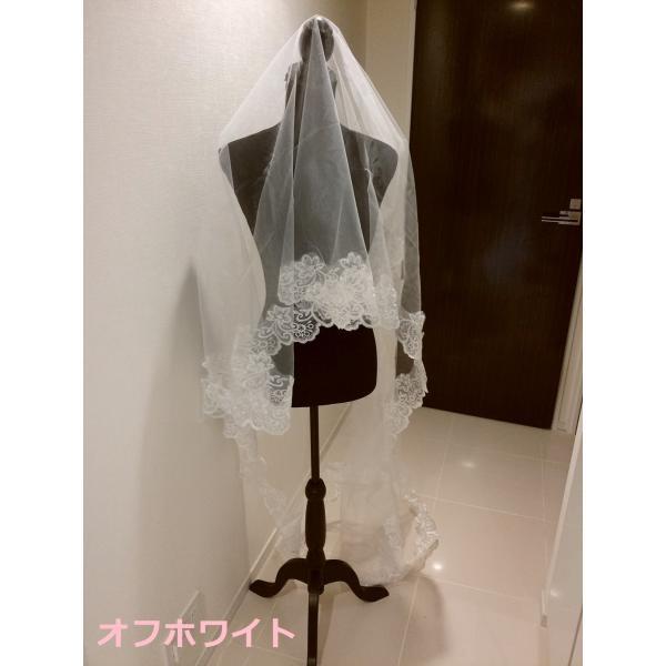 ウェディングベール ロング マリアベール フラワー 刺繍 結婚式 教会挙式 kuroneko-ya1 05