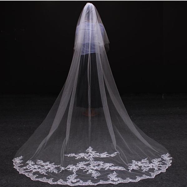 ウェディングベール ロング 3m 安い コーム付き 刺繍 結婚式 教会挙式 披露宴 送料無料|kuroneko-ya1|02