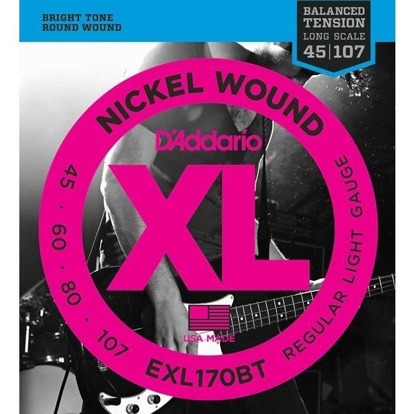 D'Addario EXL170BT XL Balanced Tension (45-107)(ベース弦)(3セット)