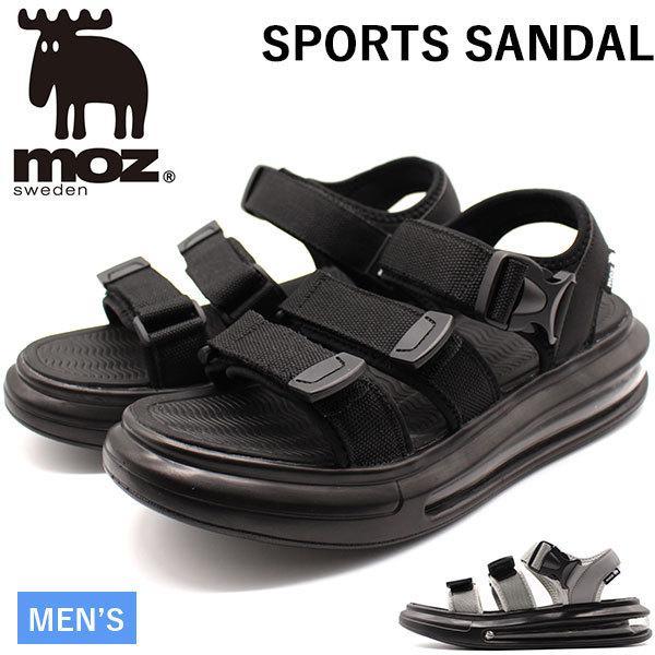モズサンダルメンズ靴スポーツサンダル黒ブラックグレーエアクッション厚底疲れにくいカジュアルmoz1805