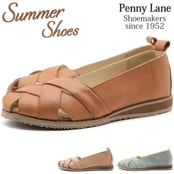 スニーカーレディース靴スリッポンサンダルブラウンピンクミントサマーシューズ夏カジュアルPennylane3163