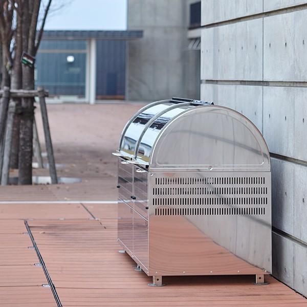 【WS-600 330L】ゴミステーション 町内会 集合住宅 店舗 大型ゴミ箱 屋外 スライド式 ステンレス 環境ステーションWS-600 330L 幅600mm|kwakui|08