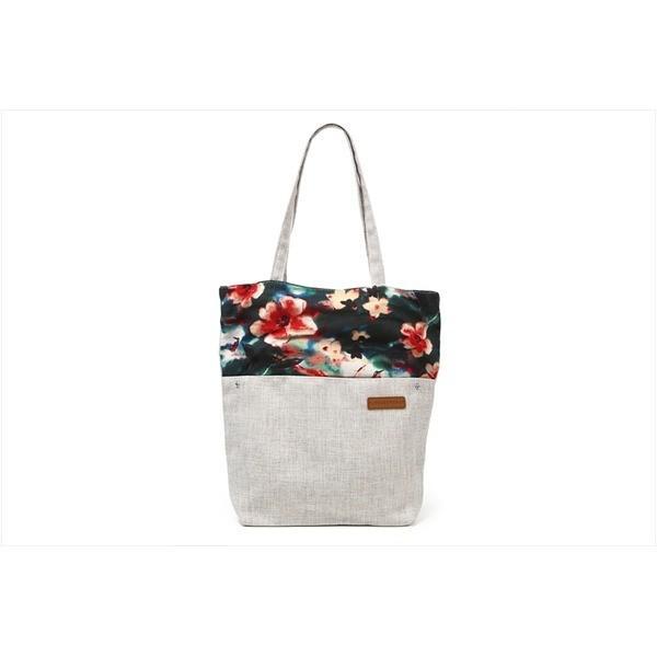 花柄の切替がかわいい A4対応キャンバストートバッグ オリエンタル柄 ホワイト T-00102867