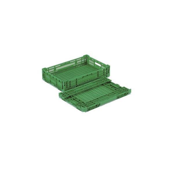 〔10個セット〕 折りたたみコンテナー/オリコン 〔RS-MM22〕 グリーン 材質:PP ワンタッチ組立〔代引不可〕