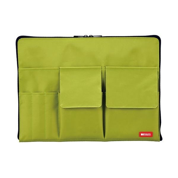 (まとめ)リヒトラブ バック・イン・バッグ A4黄緑 A-7554-6 1個〔×5セット〕