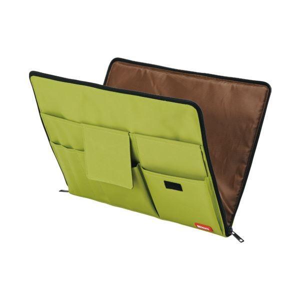 (まとめ)LIHITLAB バック イン バック A4 A7554-6 黄緑〔×5セット〕