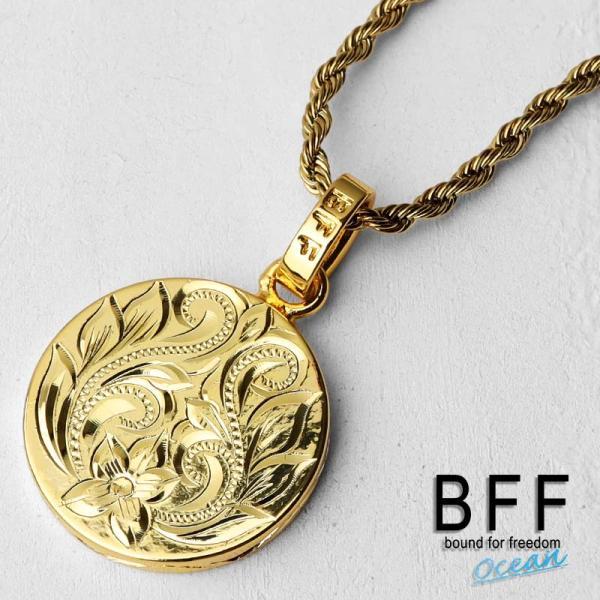 BFF ブランド コイントップネックレス プルメリアモデル ゴールド 18K GP gold スクロール マイレ 波 ハワイアンジュエリー ロープチェーン ペア 専用BOX付属