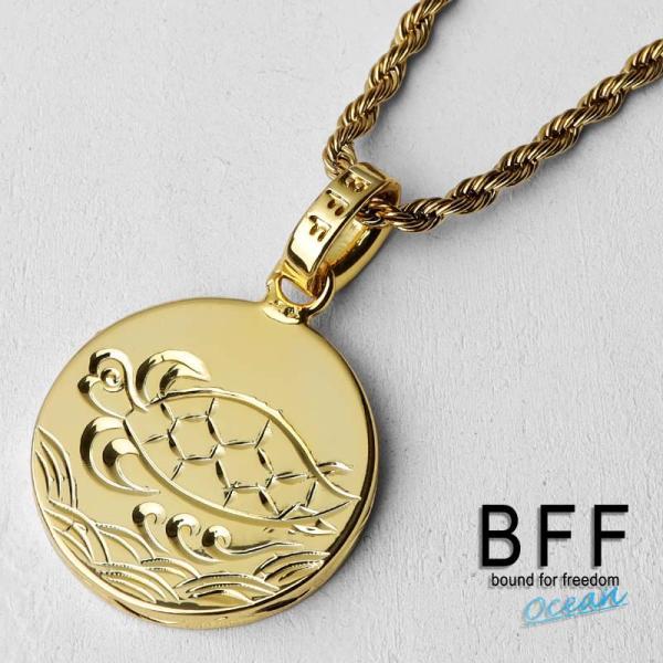 BFF ブランド コイントップネックレス タートルモデル ゴールド 18K GP gold カメ ウミガメ 亀 ハワイアンジュエリー ロープチェーン ペア 専用BOX付属