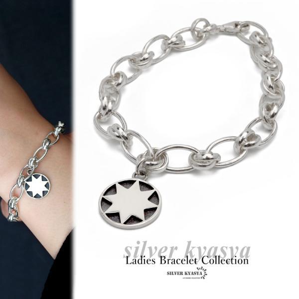 シルバー925 コイン ブレスレット フィガロ チェーン ブレスレット 太陽 サン チャーム シルバー 銀 ホワイト 金属 アレルギー フリー 18cm