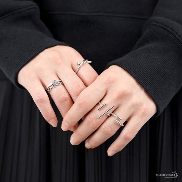 シルバー925 シンプル リング 指輪 925 銀 シルバーリング ダブル スティック リング オシャレ