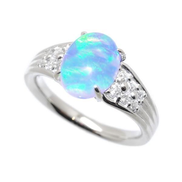ウォーターオパール リング 指輪 プラチナ 10月誕生石 プレゼント クレサンベール 京セラ