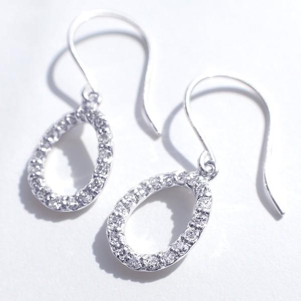 ダイヤモンド ピアス K18ホワイトゴールド 合計0.18カラット 楕円  プレゼント 天然石 京セラ