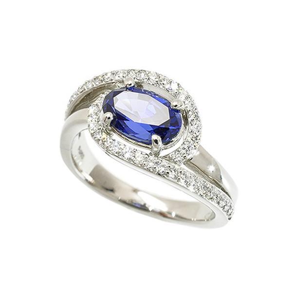b609d93e0b4124 ブルーサファイア リング 指輪 プラチナ 1カラットUP 一粒 オーバル 9月 ...