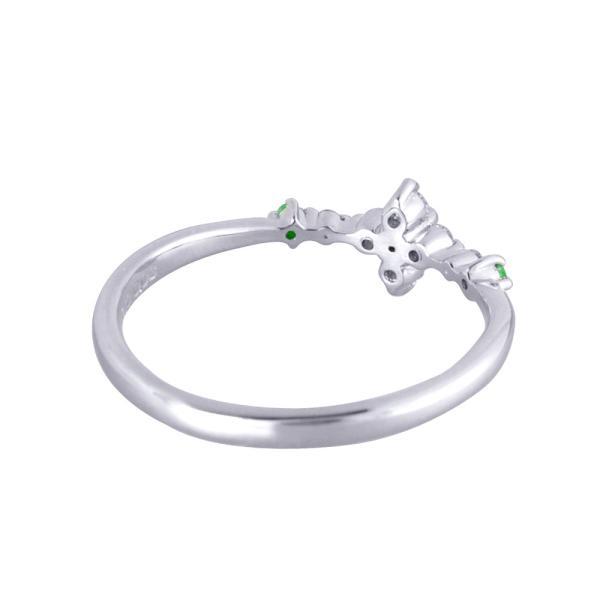 デマントイドガーネット リング 指輪 プラチナ 3石 フラワー 1月誕生石 プレゼント 天然石 京セラ