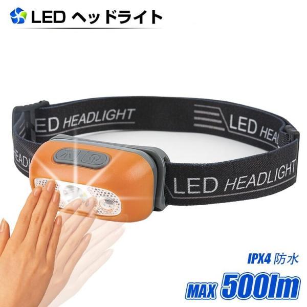 ヘッドライト LED 充電式 500lm IPX4 防水  懐中電灯 センサー点灯 ヘッドランプ 釣り 登山 自転車 ハイキング 災害対策 コンパクト 長持ち|kyodo-store