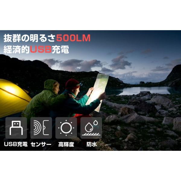 ヘッドライト LED 充電式 500lm IPX4 防水  懐中電灯 センサー点灯 ヘッドランプ 釣り 登山 自転車 ハイキング 災害対策 コンパクト 長持ち|kyodo-store|02