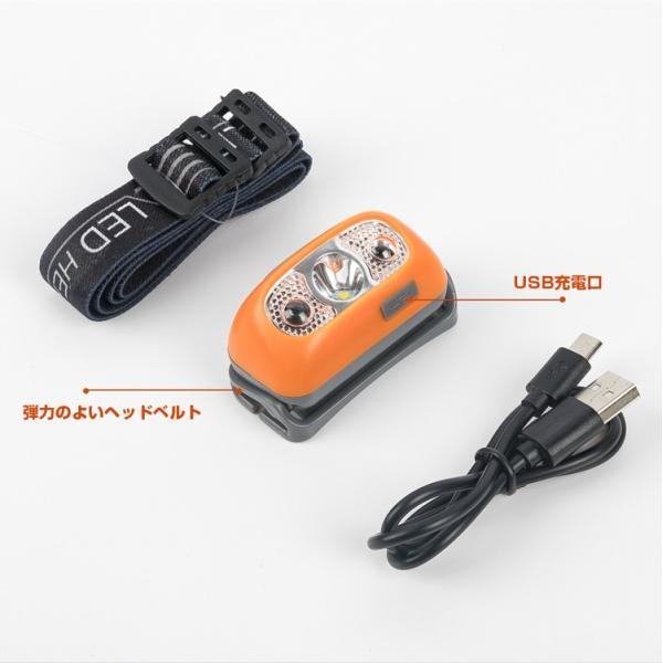 ヘッドライト LED 充電式 500lm IPX4 防水  懐中電灯 センサー点灯 ヘッドランプ 釣り 登山 自転車 ハイキング 災害対策 コンパクト 長持ち|kyodo-store|03