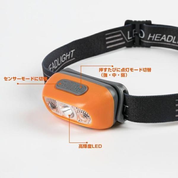 ヘッドライト LED 充電式 500lm IPX4 防水  懐中電灯 センサー点灯 ヘッドランプ 釣り 登山 自転車 ハイキング 災害対策 コンパクト 長持ち|kyodo-store|04