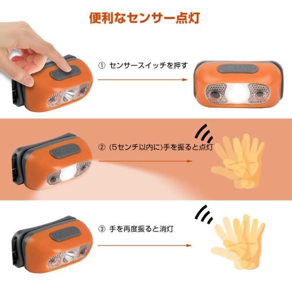 ヘッドライト LED 充電式 500lm IPX4 防水  懐中電灯 センサー点灯 ヘッドランプ 釣り 登山 自転車 ハイキング 災害対策 コンパクト 長持ち|kyodo-store|06