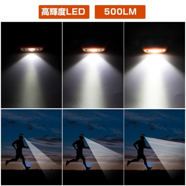 ヘッドライト LED 充電式 500lm IPX4 防水  懐中電灯 センサー点灯 ヘッドランプ 釣り 登山 自転車 ハイキング 災害対策 コンパクト 長持ち|kyodo-store|07
