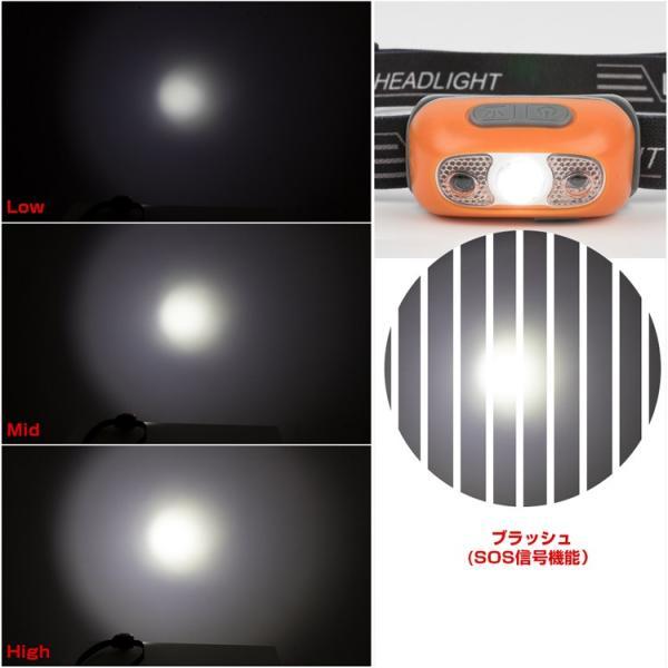 ヘッドライト LED 充電式 500lm IPX4 防水  懐中電灯 センサー点灯 ヘッドランプ 釣り 登山 自転車 ハイキング 災害対策 コンパクト 長持ち|kyodo-store|08