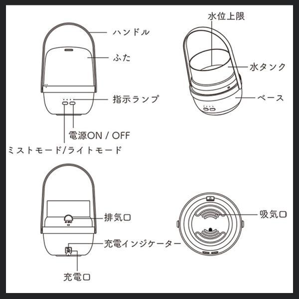 アロマディフューザー LEDランタン アロマライト 加湿器 静音 空気浄化器 タイマー キャンプランプ 花粉症対策 防災 潤い 節電|kyodo-store|06