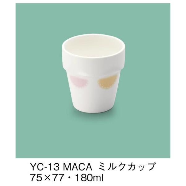 強化磁器製子供用食器 マカロン(パワーセラ) ミルクカップ (75×77mm・180cc) 三信化工[YC-13MACA] 業務用 保育園・幼稚園向け