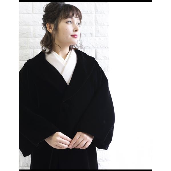 (アゲハラコート 10)AGEHARA へちま衿ベルベットコート 日本製 へちま衿 アゲハラ コート 和装 黒 赤 茶 紫 M L(ns42)(zr)|kyoetsuorosiya|02
