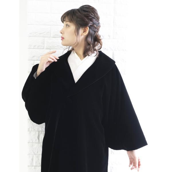 (アゲハラコート 10)AGEHARA へちま衿ベルベットコート 日本製 へちま衿 アゲハラ コート 和装 黒 赤 茶 紫 M L(ns42)(zr)|kyoetsuorosiya|03