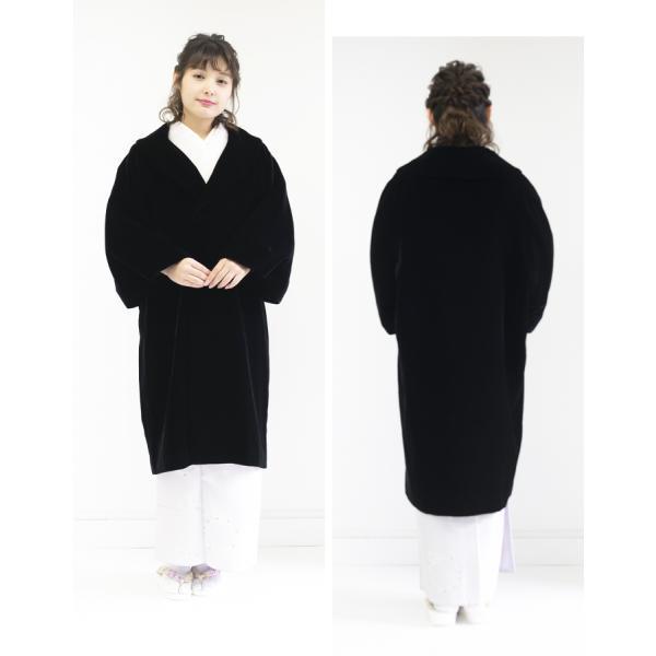 (アゲハラコート 10)AGEHARA へちま衿ベルベットコート 日本製 へちま衿 アゲハラ コート 和装 黒 赤 茶 紫 M L(ns42)(zr)|kyoetsuorosiya|04