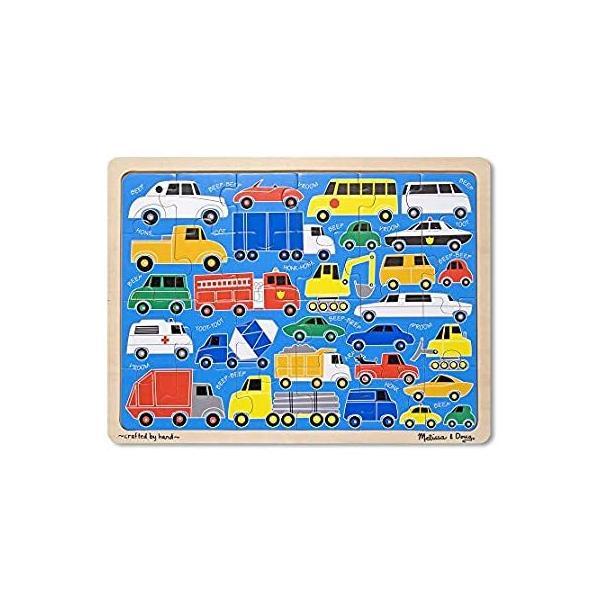 Melissa & Doug Beep Beep自動車、トラック、木製ジグソーパズルwithストレージトレイ( 24個)