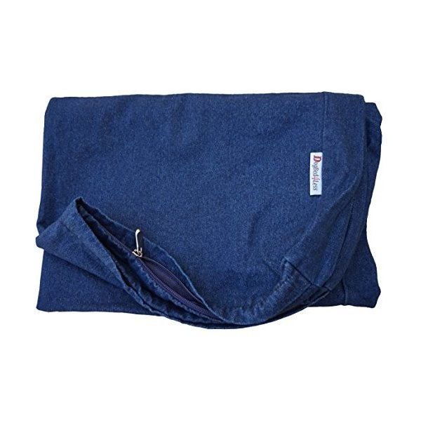 Dogbed4less 41X27X4 Inches Large Durable Blue Color Denim Jean Cotton Dog Pet Bed External Zipper Cover - Replacement Cover only