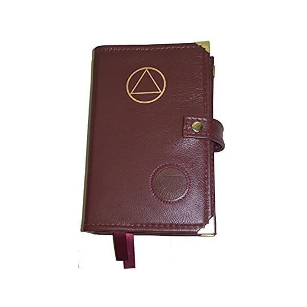Burgundy Leather Double AA Alcoholics匿名Big Book & 12ステップと12Traditionsブックカバ