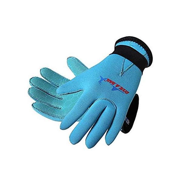Dive & Sail 3mm のネオプレンスキッドプルーフウェットスーツ子供手袋サーフシュノーケリングのために (ブルー, M)