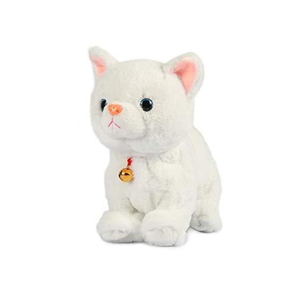 Smalody インタラクティブぬいぐるみ 斬新なサウンドコントロール 電子猫 電子ペット ロボット 猫 子供用ギフト (ホワイト)